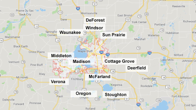 Kirch Appliance Repair Service Area Map for the Madison Area